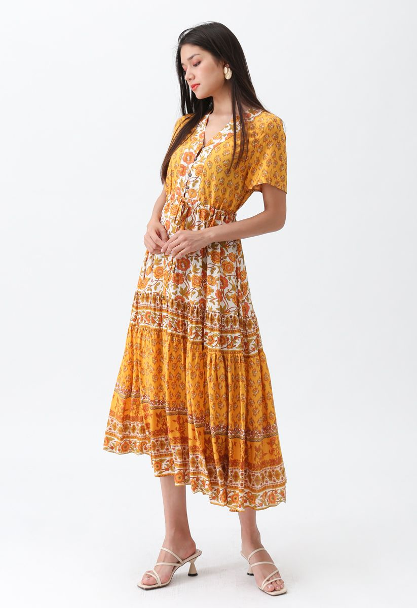 Robe longue à fleurs Boho Bomshell en moutarde