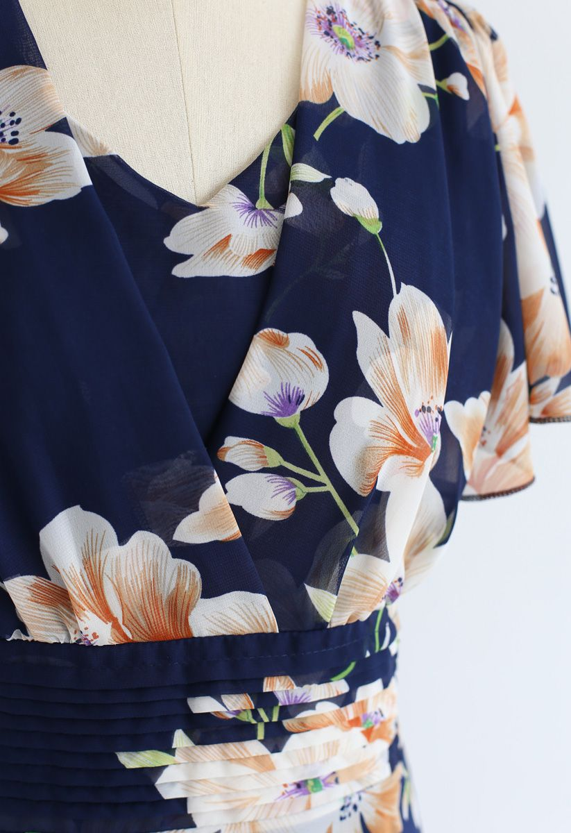 Sweet Surrender - Robe en mousseline à fleurs - Marine