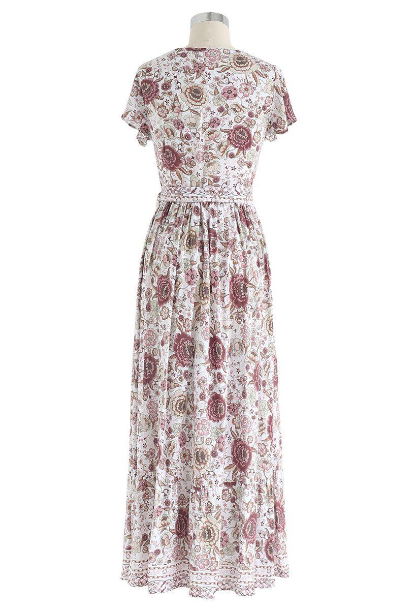 Boho Vibrant Maxi Dress Wrap Floral en Ivoire