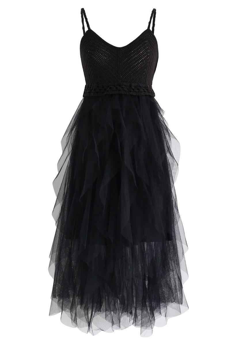 Robe camisole en maille à volants en noir