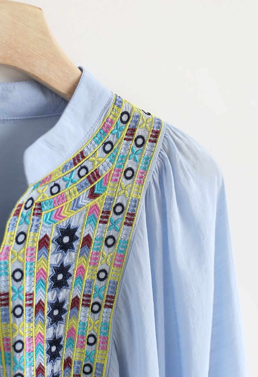 Puff Sleeves Boho Haut Dolly brodé en bleu