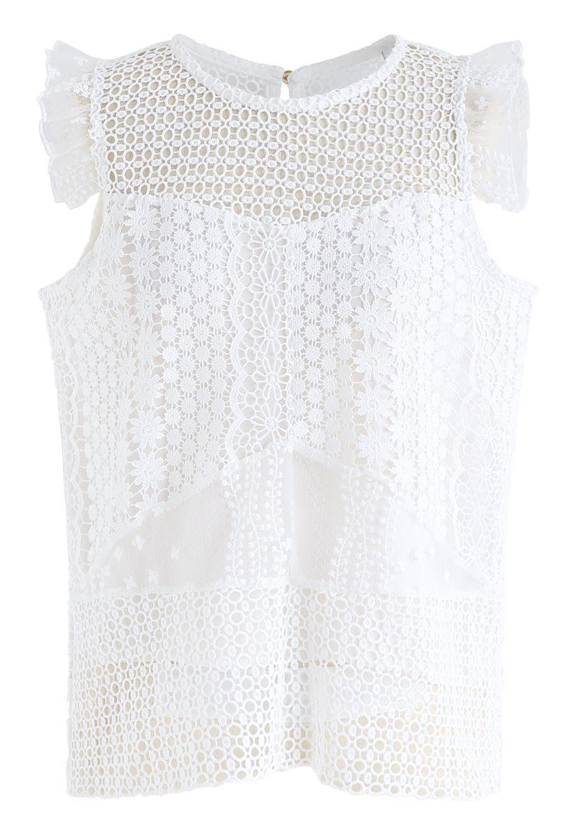 Top sans manches à motif floral avec oeillets en blanc