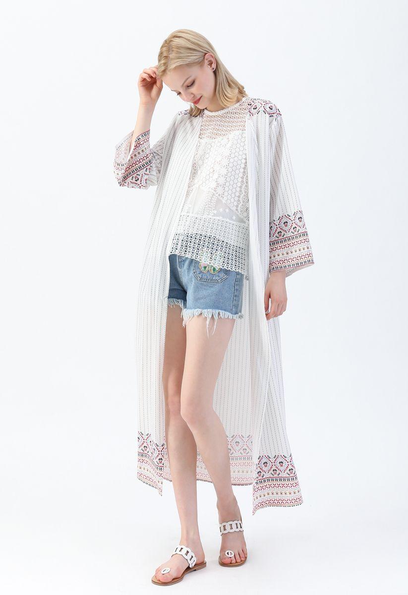 Boho Style Stripe Printed Longline Kimono
