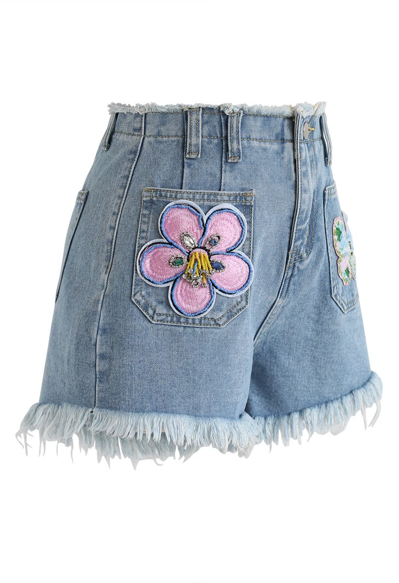 Sequin Trimmed High-Waisted Denim Shorts