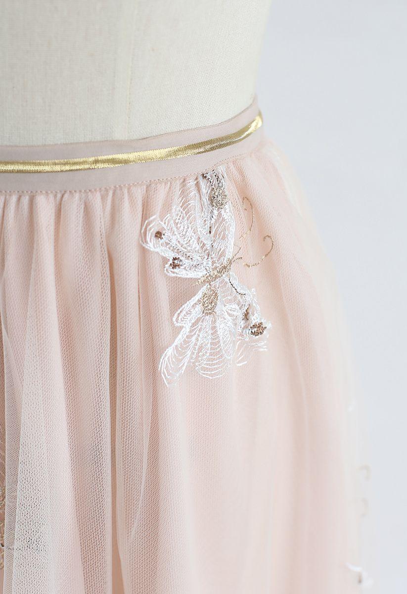 Jupe mi-longue en maille à double couche brodée papillon