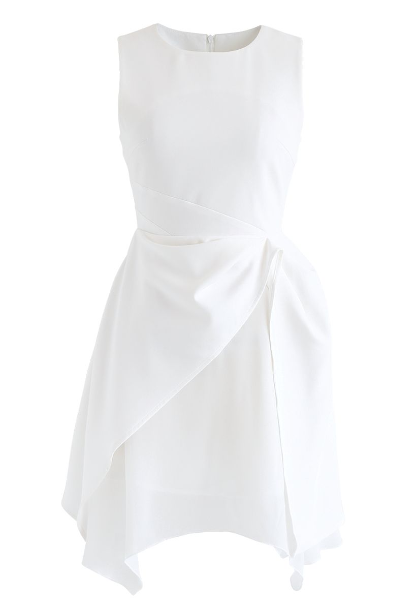 Asymmetric Hem Sleeveless Dress in White