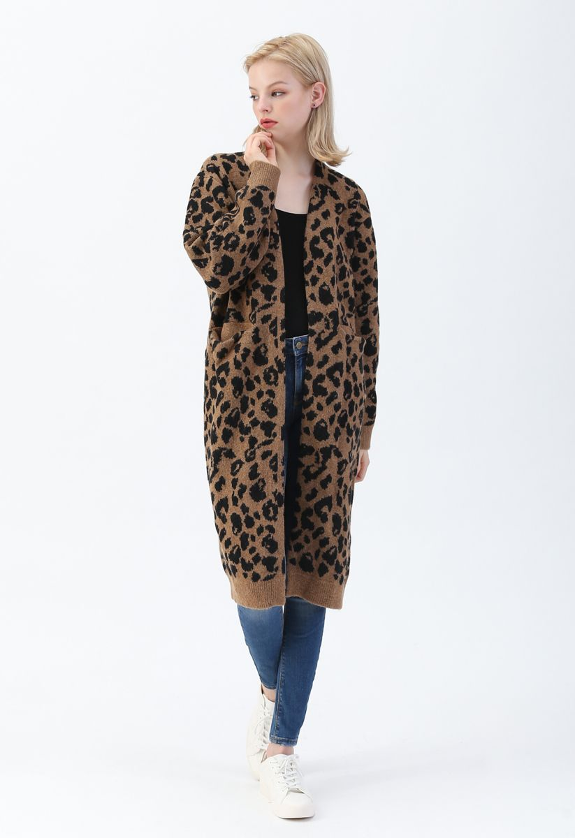 Leopard Pockets Longline Cardigan in Brown