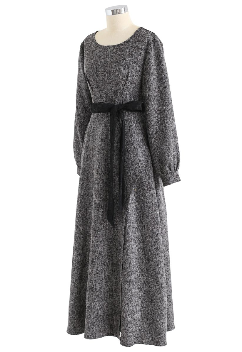 Normcore Lace Belted Maxi Dress