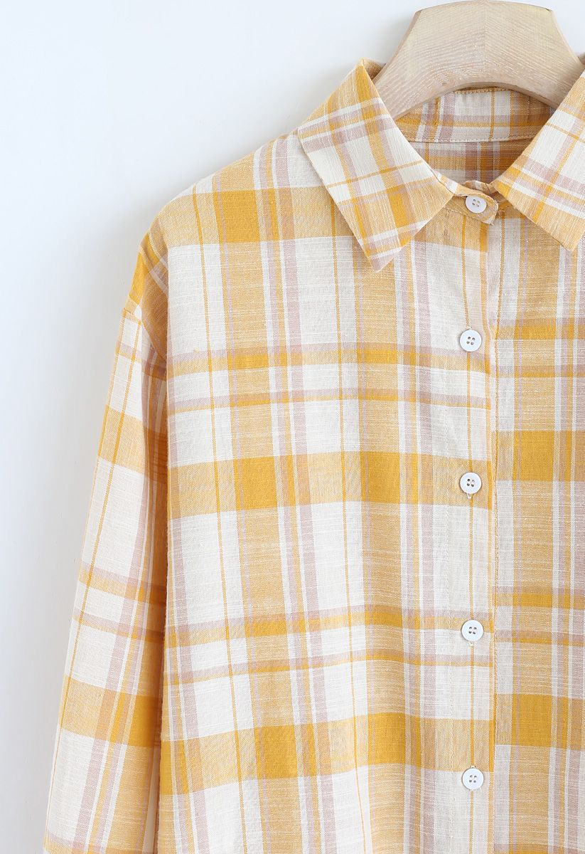 Peppy Plaid Long Sleeves Shirt in Mustard