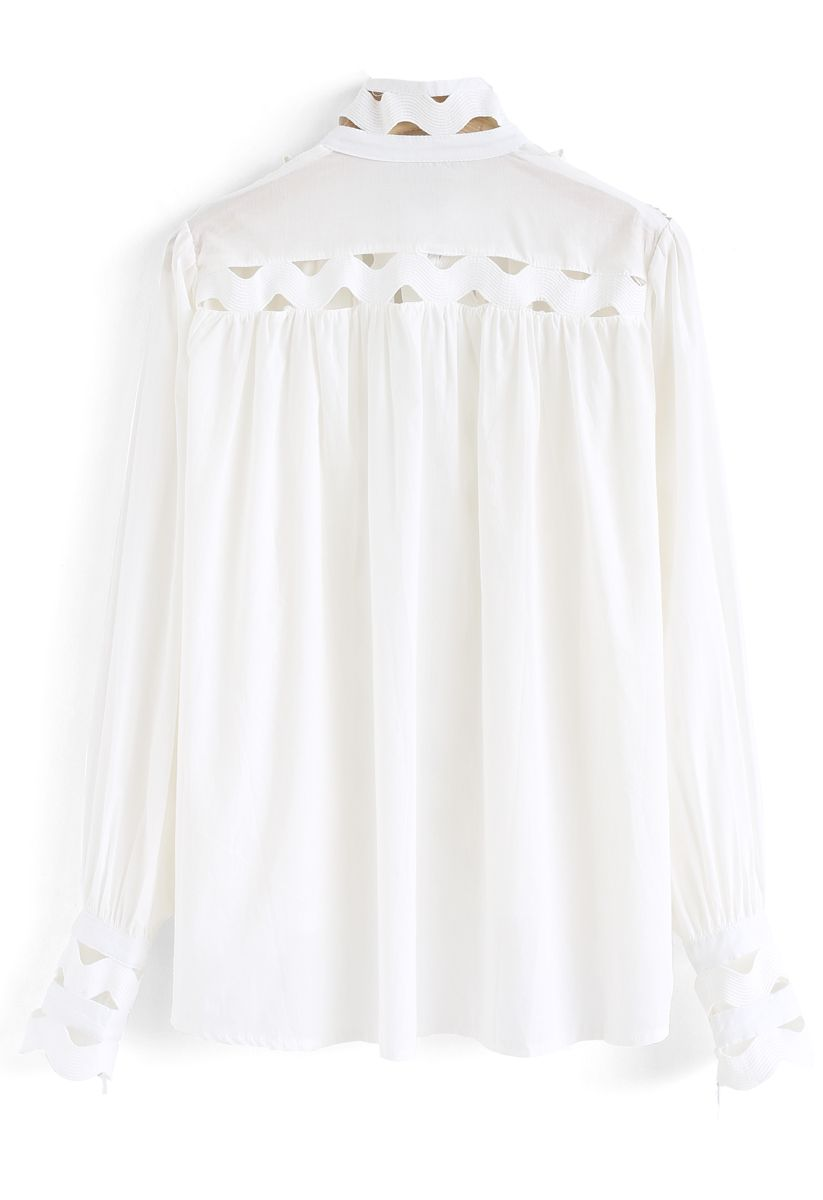 Button Front Wave Shaped Hi-Lo Shirt in White