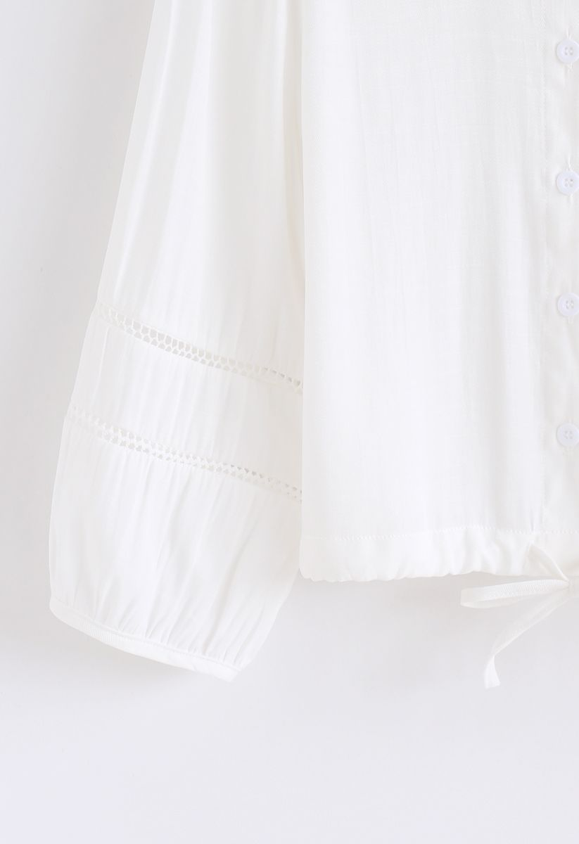 Drawstring Button Front Shirt in White