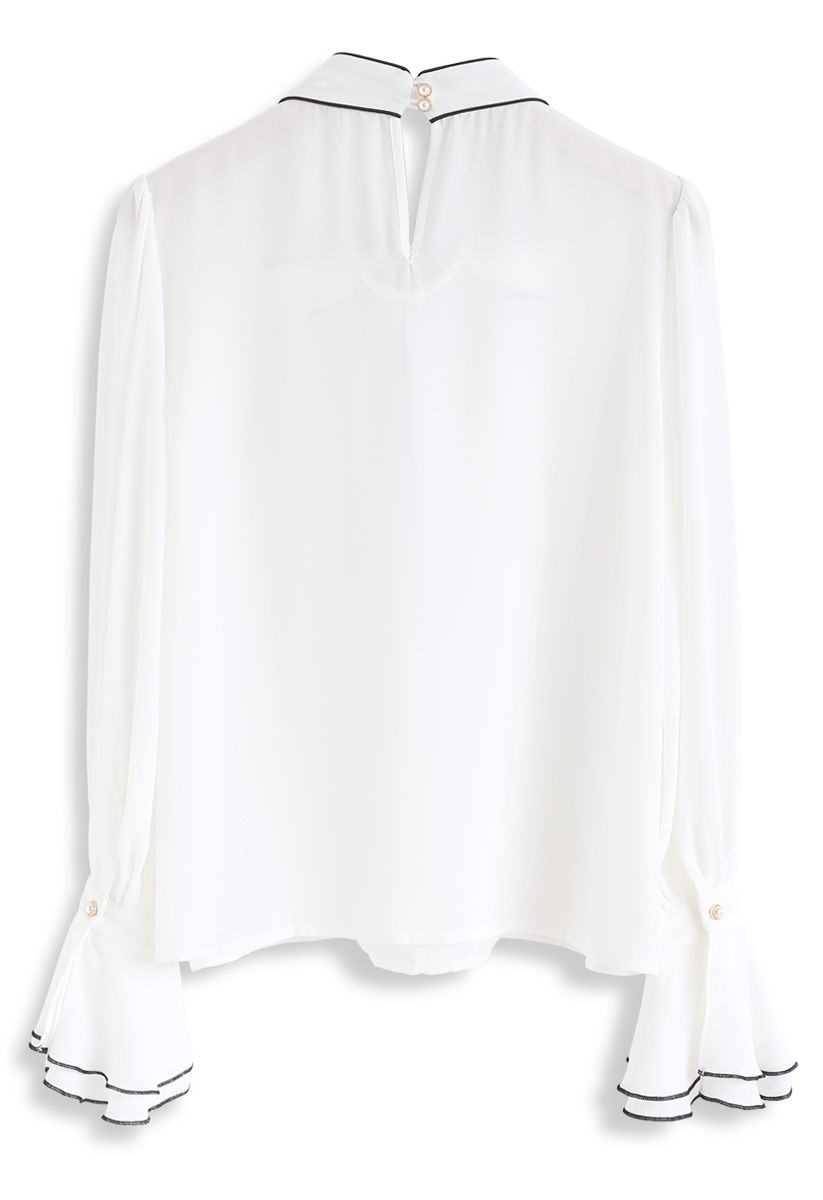 Bowknot Bell Sleeves Chiffon Top in White