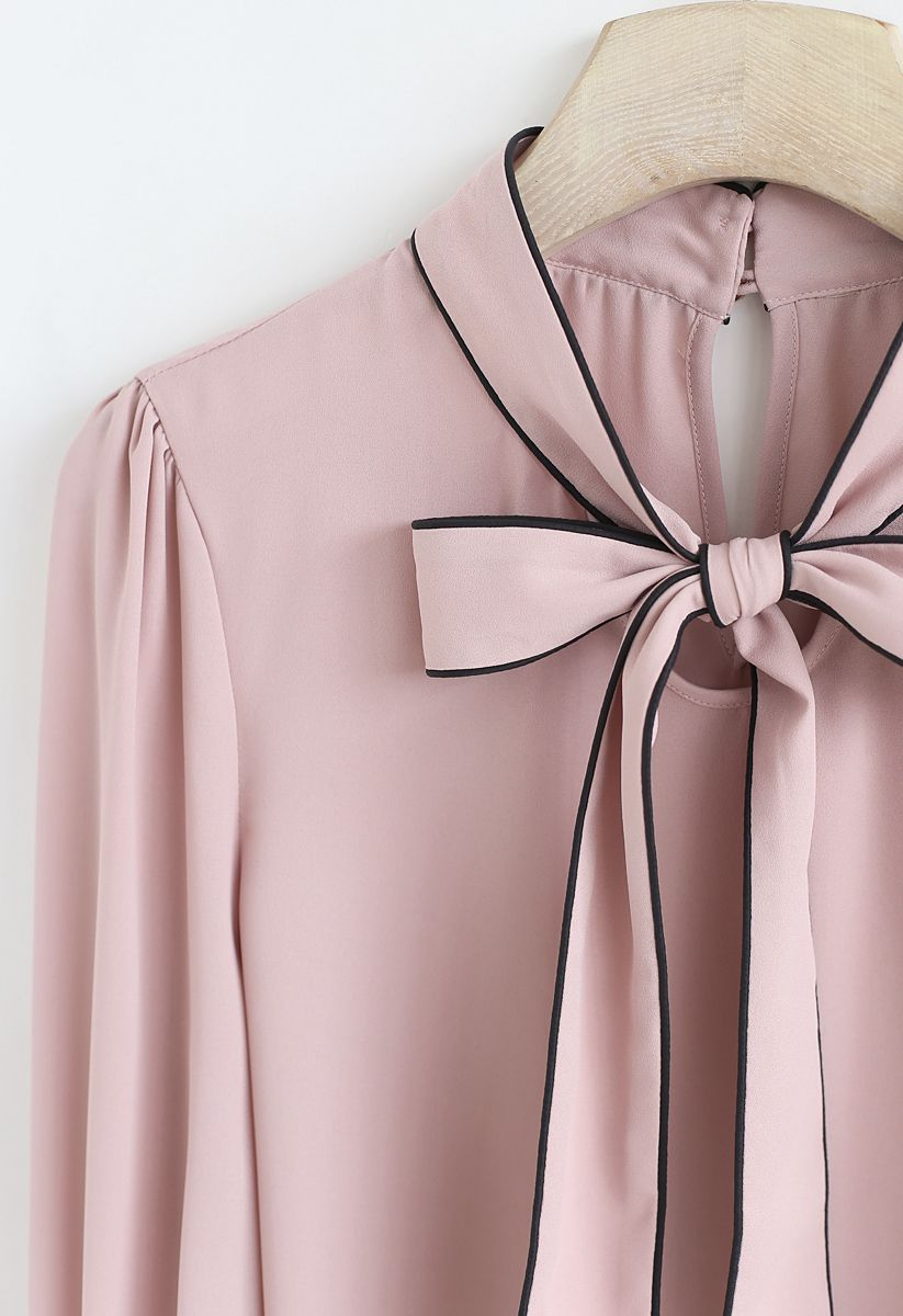 Bowknot Bell Sleeves Chiffon Top in Pink