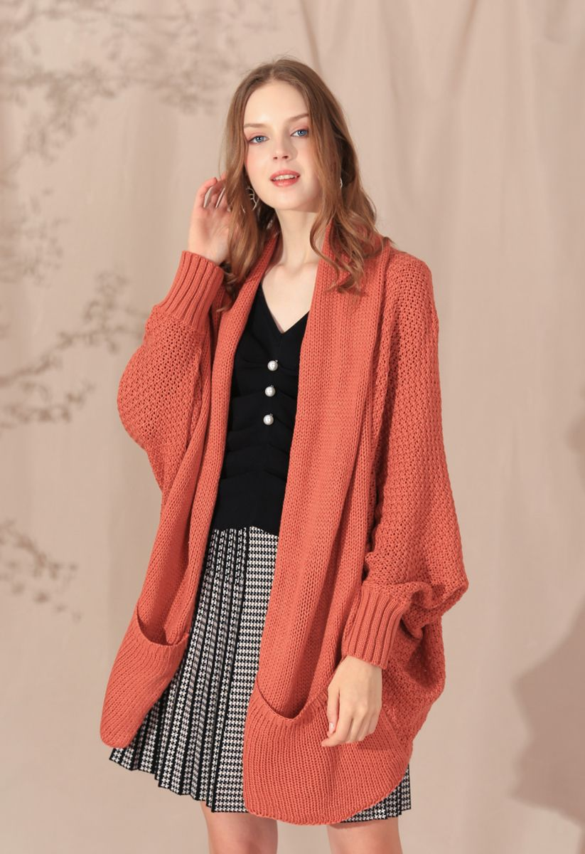 Open Front Drape Knit Cardigan in Coral