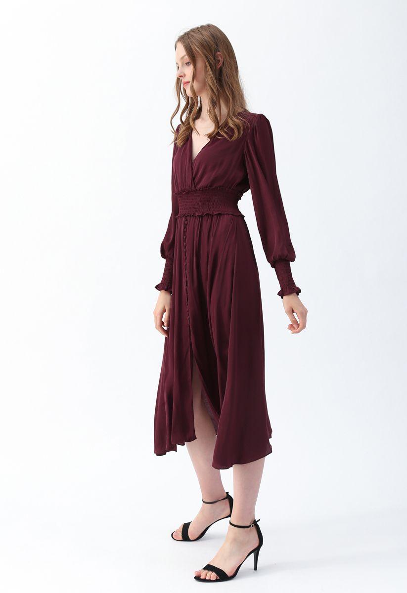 Satin Button Down Wrap Midi Dress in Wine