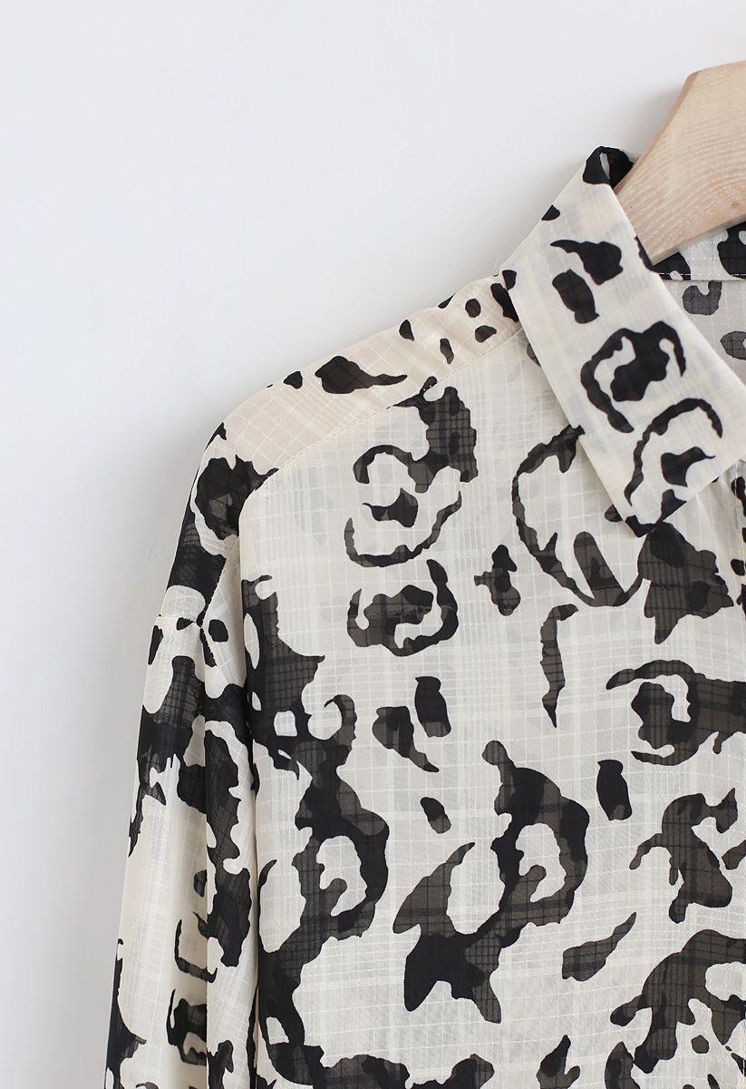 Animal Print Semi-Sheer Shirt in Black