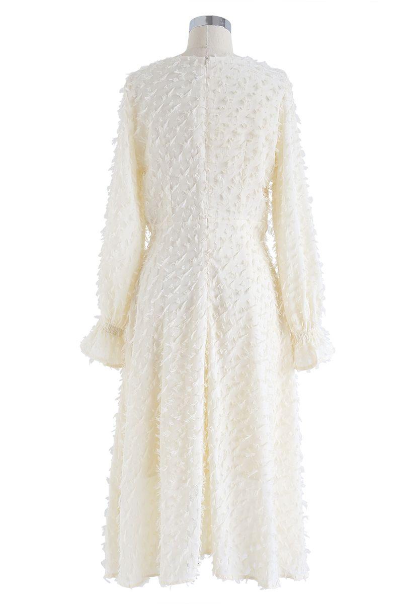 Tassel Trim Bell Sleeves Midi Dress