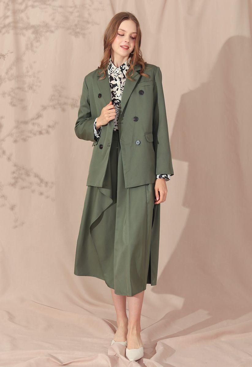 Double-Breasted Split Blazer in Army Green