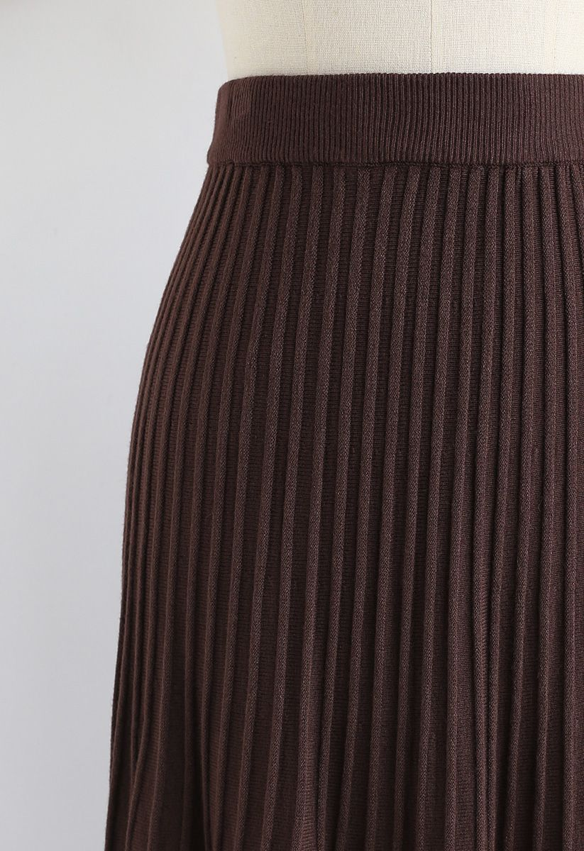 Lace Hem Pleated A-Line Knit Skirt in Brown