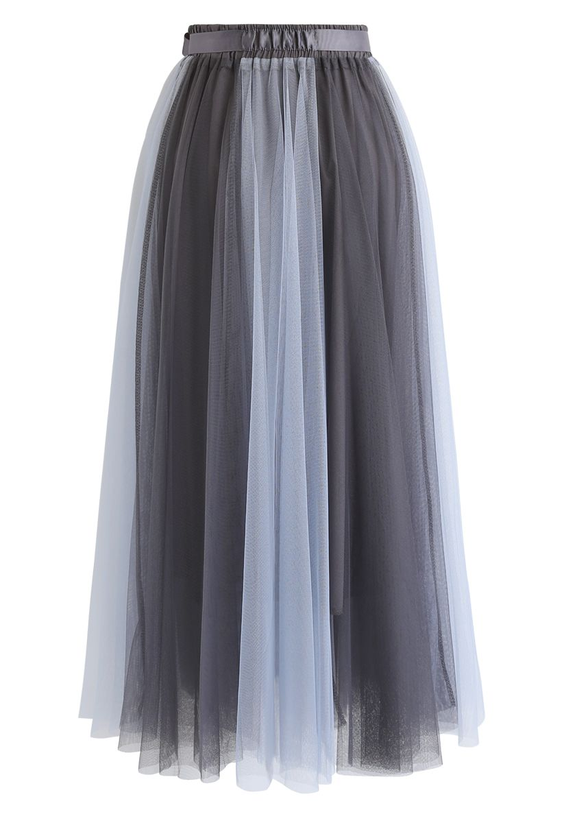 Amore Color Blocked Mesh Tulle Skirt in Dusty Blue