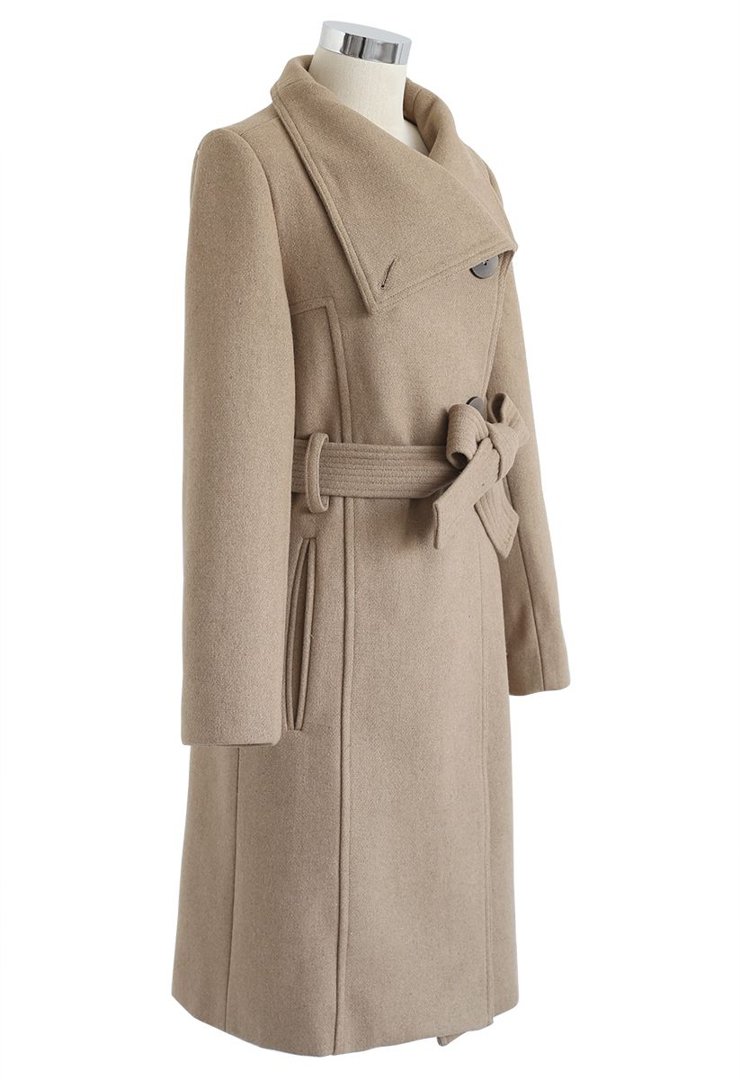 Button Neck Belted Wool-Blended Coat