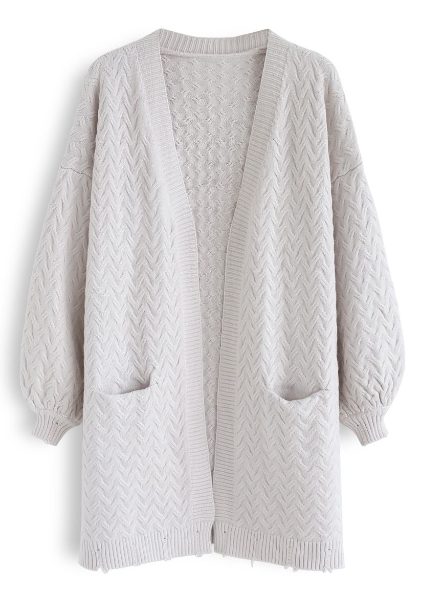 Puff Sleeves Cable Knit Cardigan in Ivory