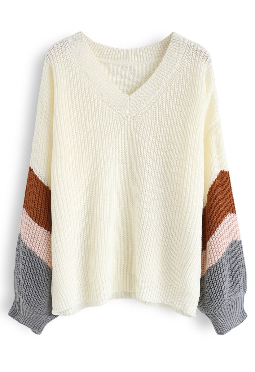V-Neck Color Blocked Sleeves Knit Sweater in Ivory