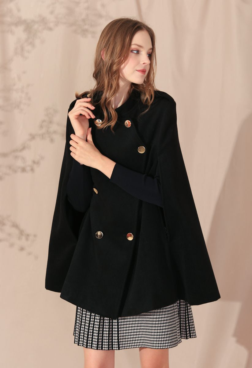 Double-Breasted Cape Coat in Black