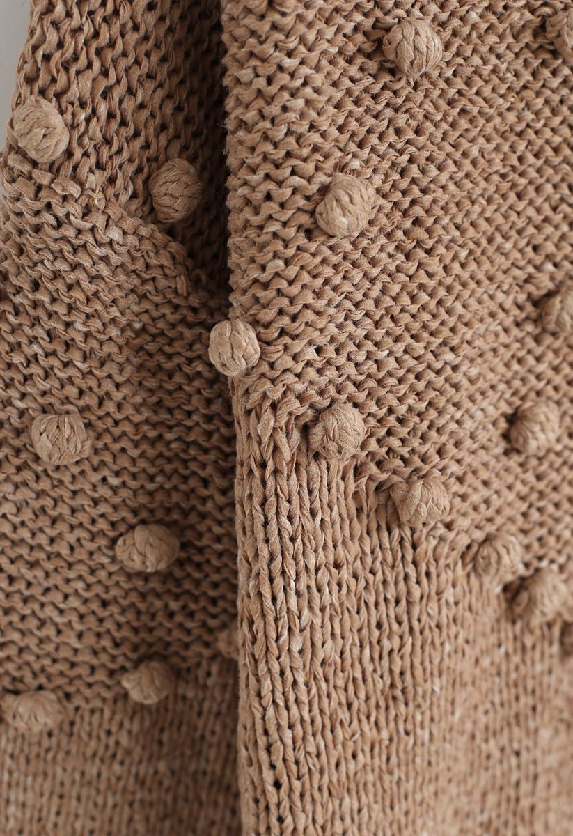 Pom-Pom Trim Chunky Knit Sweater in Tan