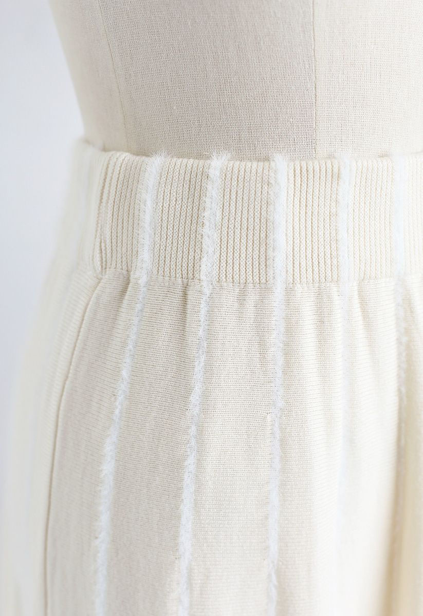 Fuzzy Lines Knit A-Line Midi Skirt in Cream