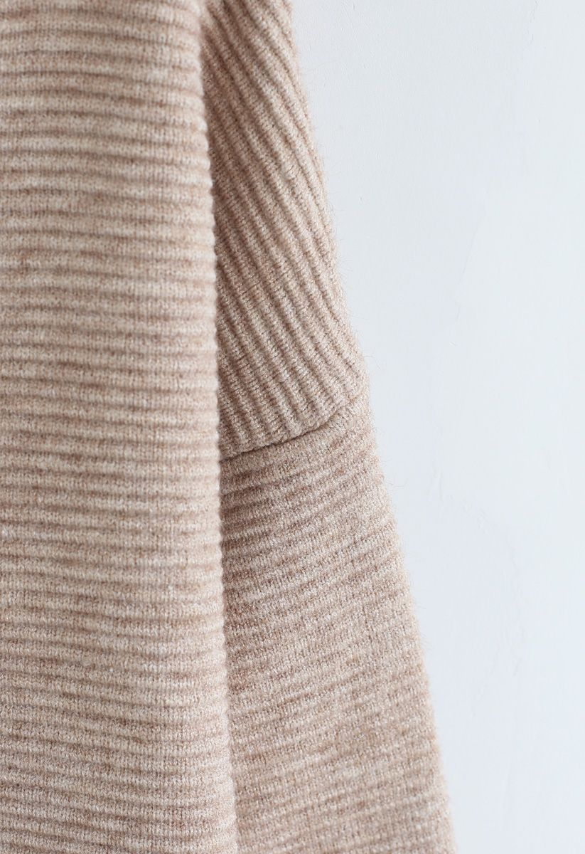 Cozy Ribbed Turtleneck Sweater in Linen