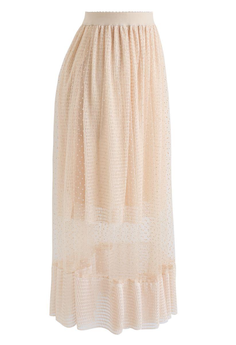 Eyelet Dots Mesh Overlay Midi Skirt in Cream