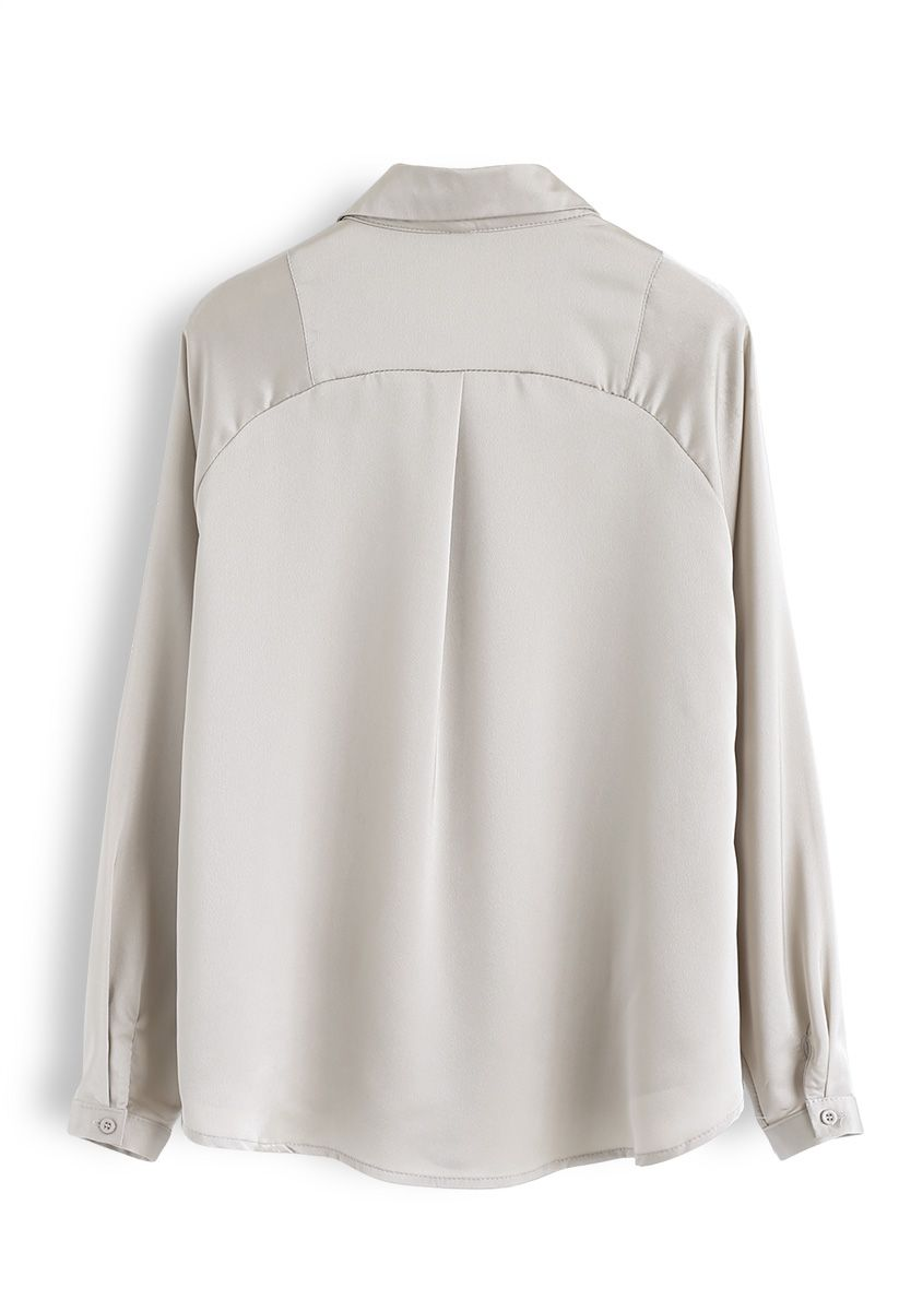 V-Neck Satin Smock Top in Ivory