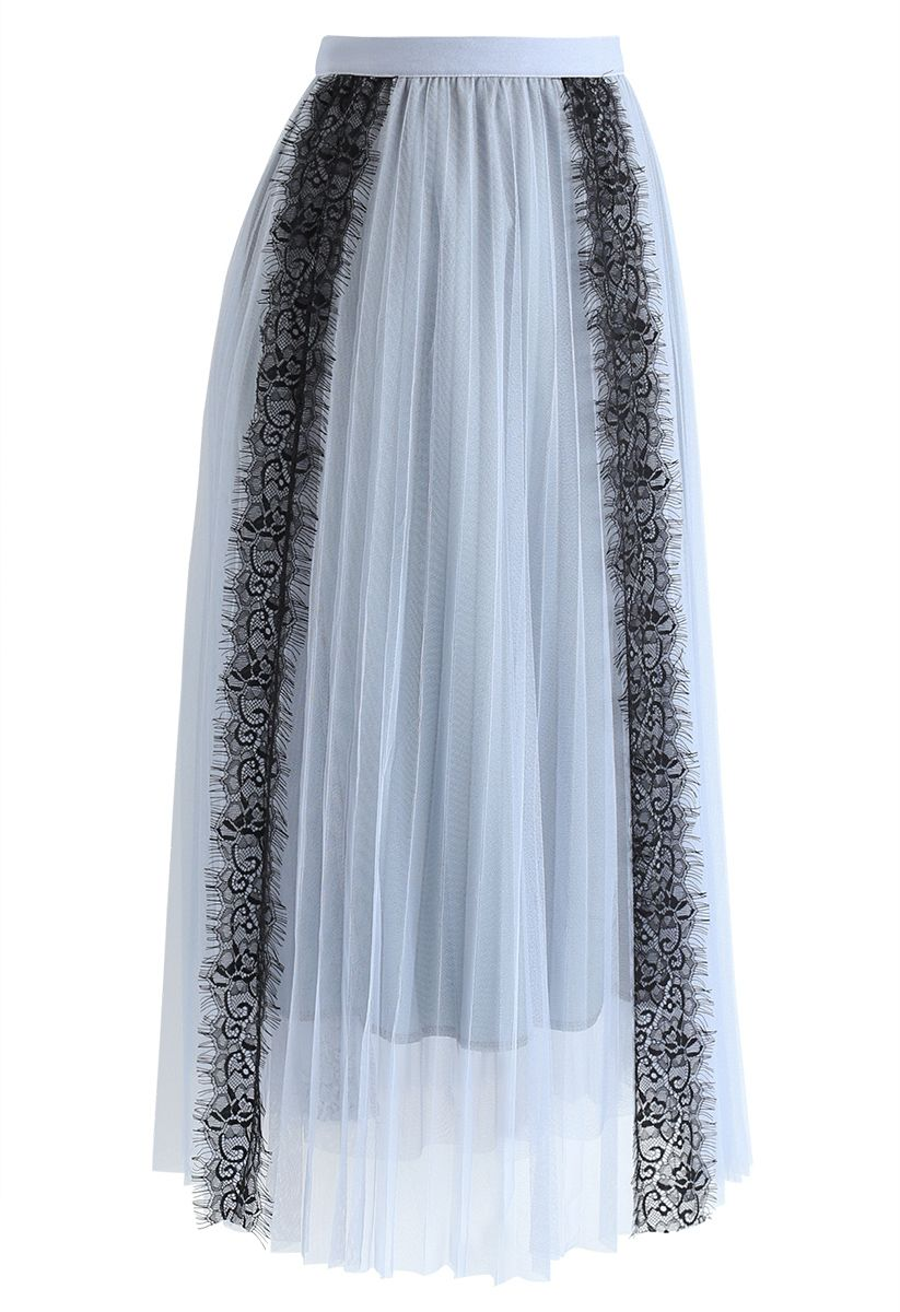 Lace Trim Mesh Tulle Midi Skirt in Dusty Blue