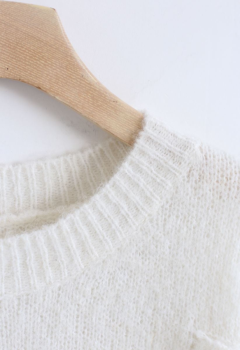 Hi Lo Hem Oversize Knit Sweater in White