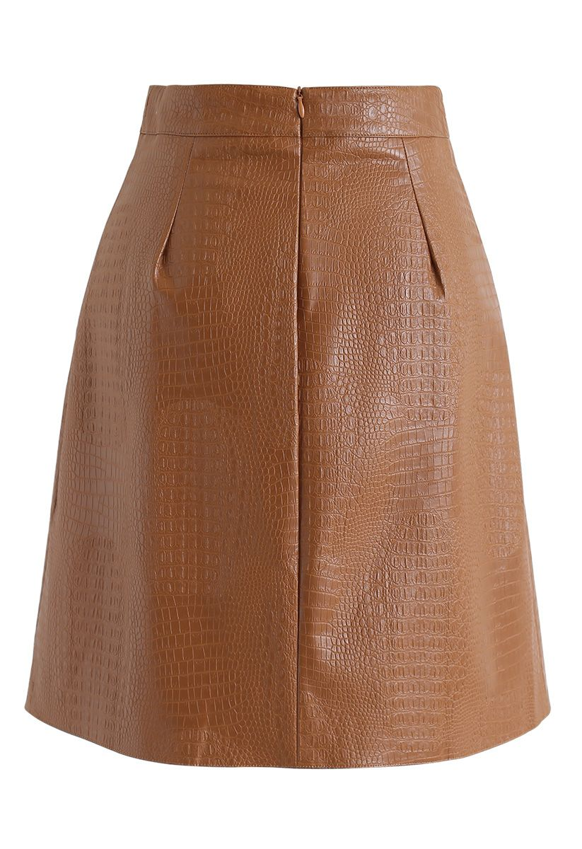Crocodile Print Faux Leather Skirt in Caramel
