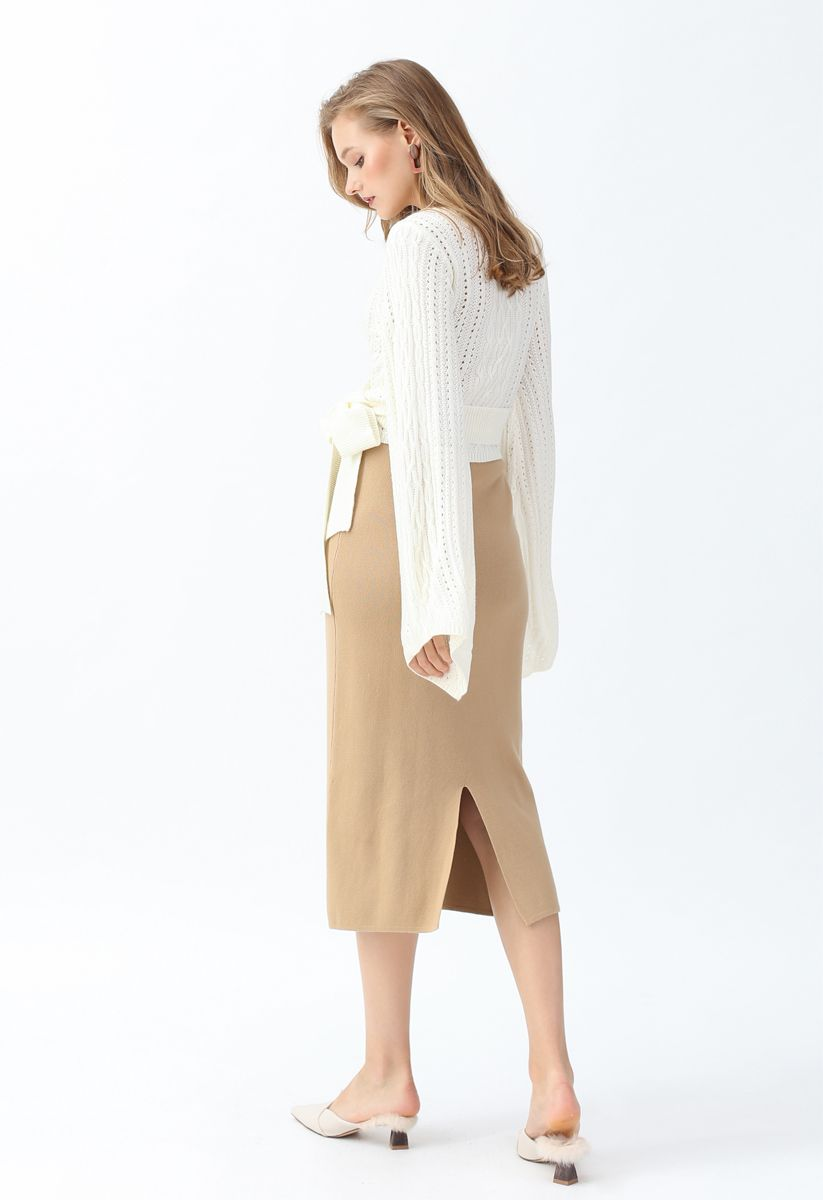 Basic Ribbed Knit Pencil Midi Skirt in Tan