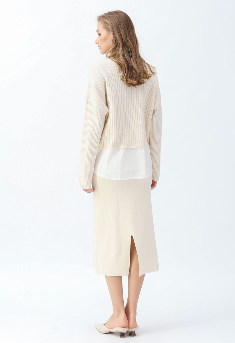 V-Neck Ribbed Spliced Knit Cardigan in Cream