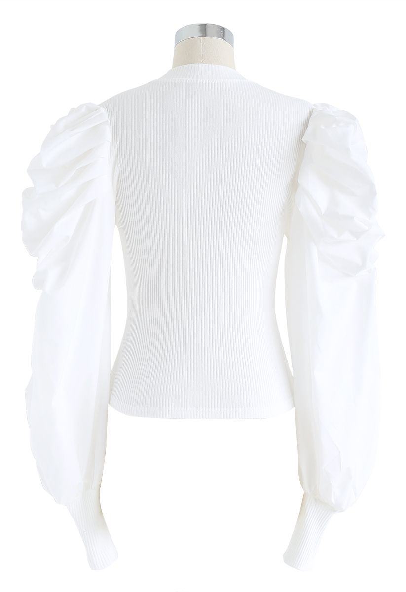 Dramatic Bubble-Sleeves Knit Top in White