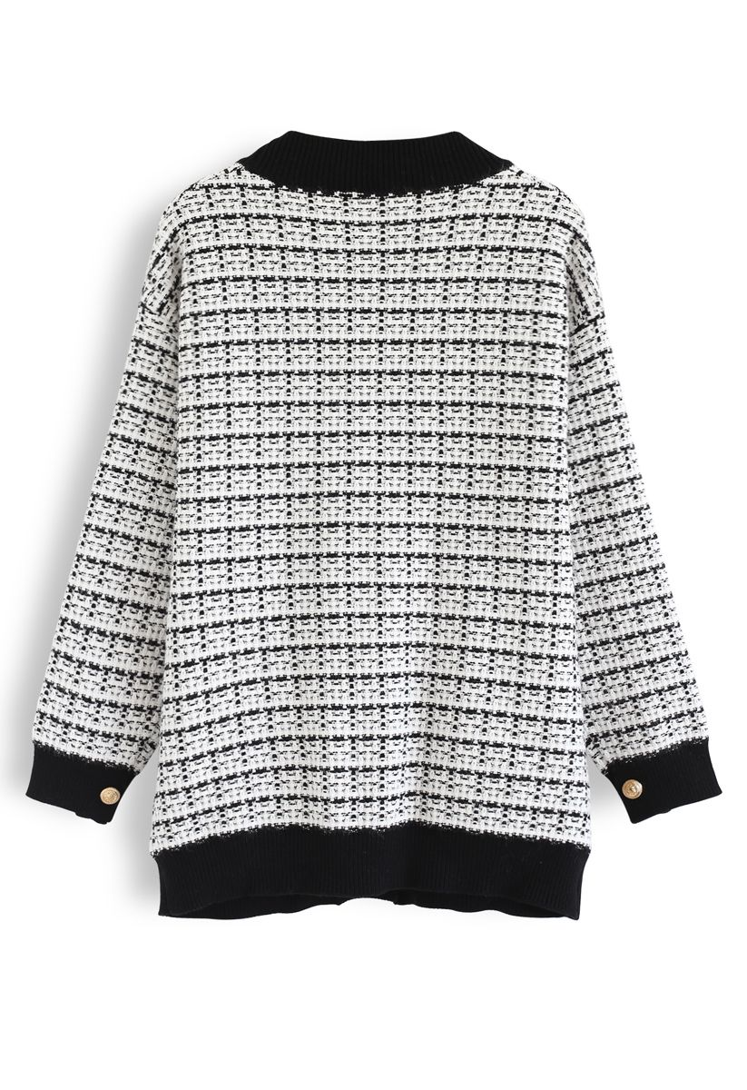 Pockets Button Trim Knit Cardigan in White