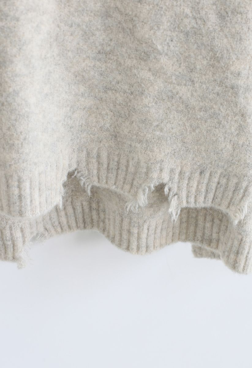 Pearls and Beads Raw Hem Oversize Knit Sweater