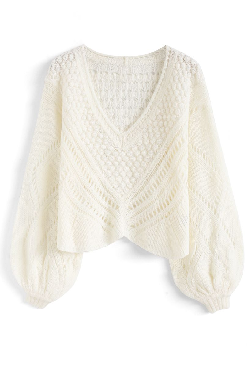 Delicacy Panelled Open Knit V-Neck Sweater in Ivory
