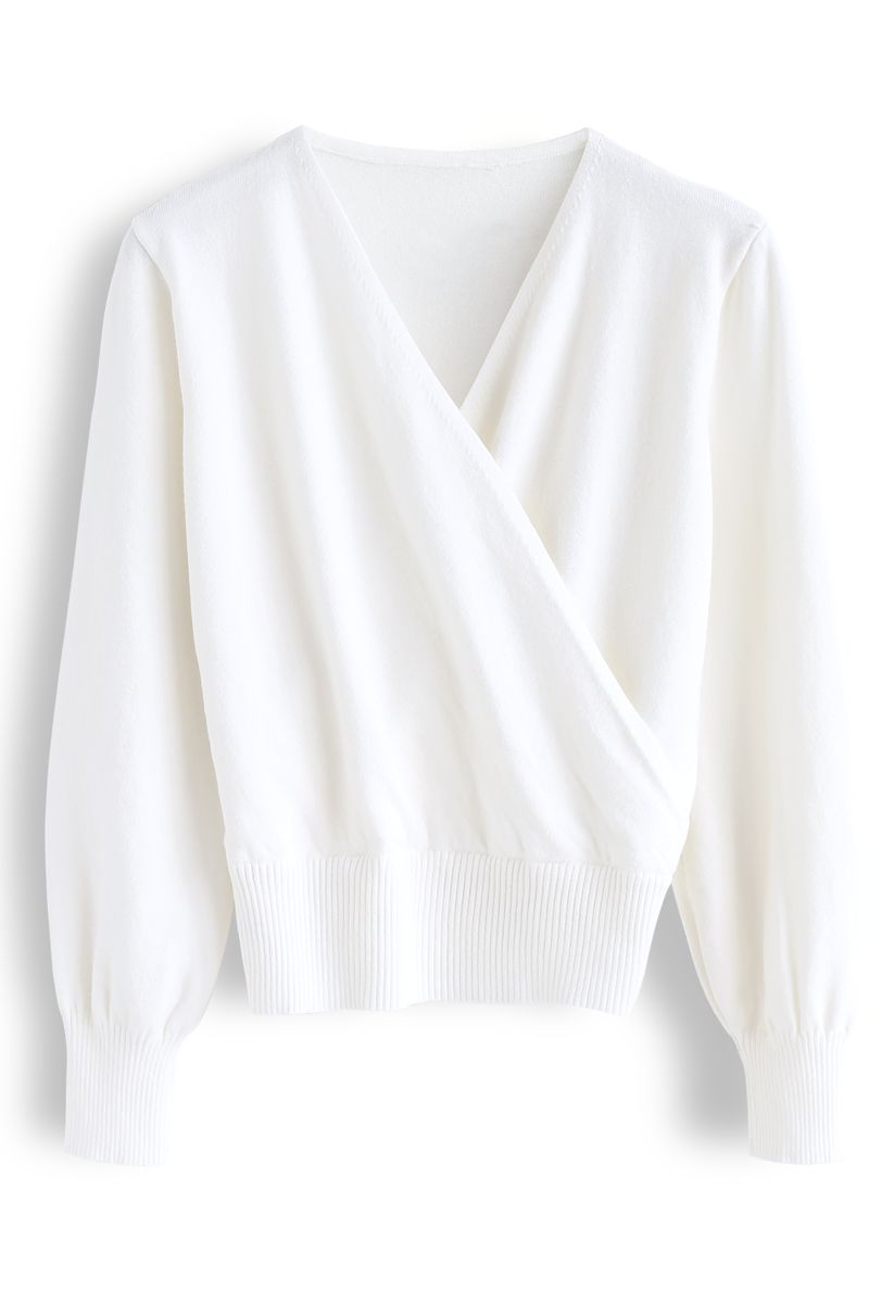 Basic Soft Wrapped Knit Top in White