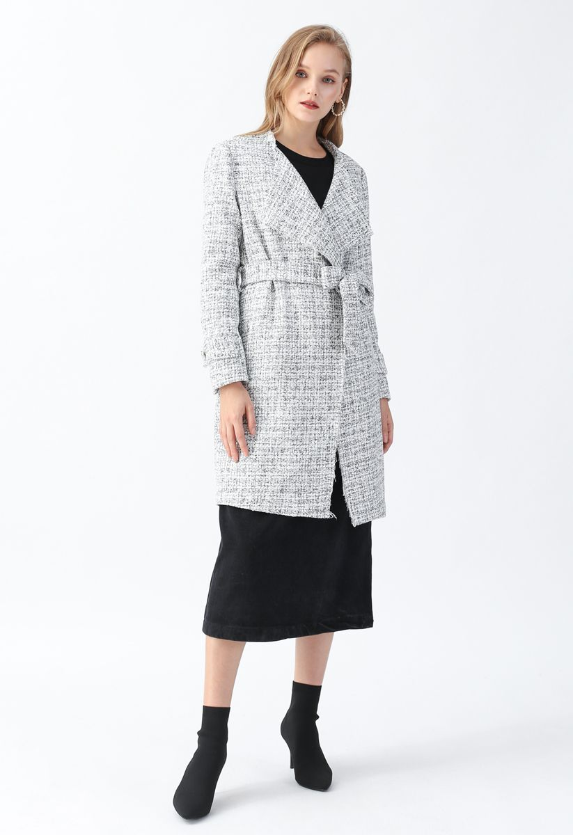 Raw Edges Open Front Belted Tweed Longline Coat