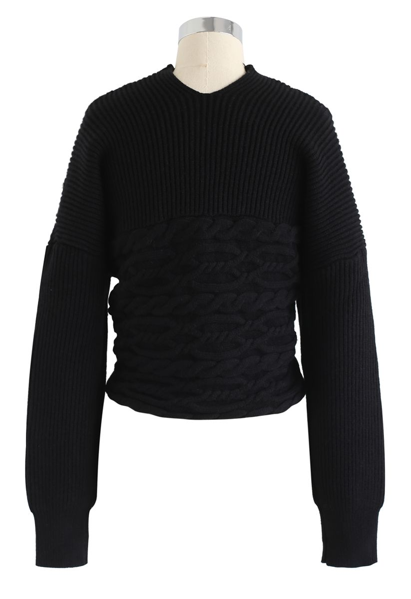 Crisscross Braid Texture Knit Crop Sweater in Black