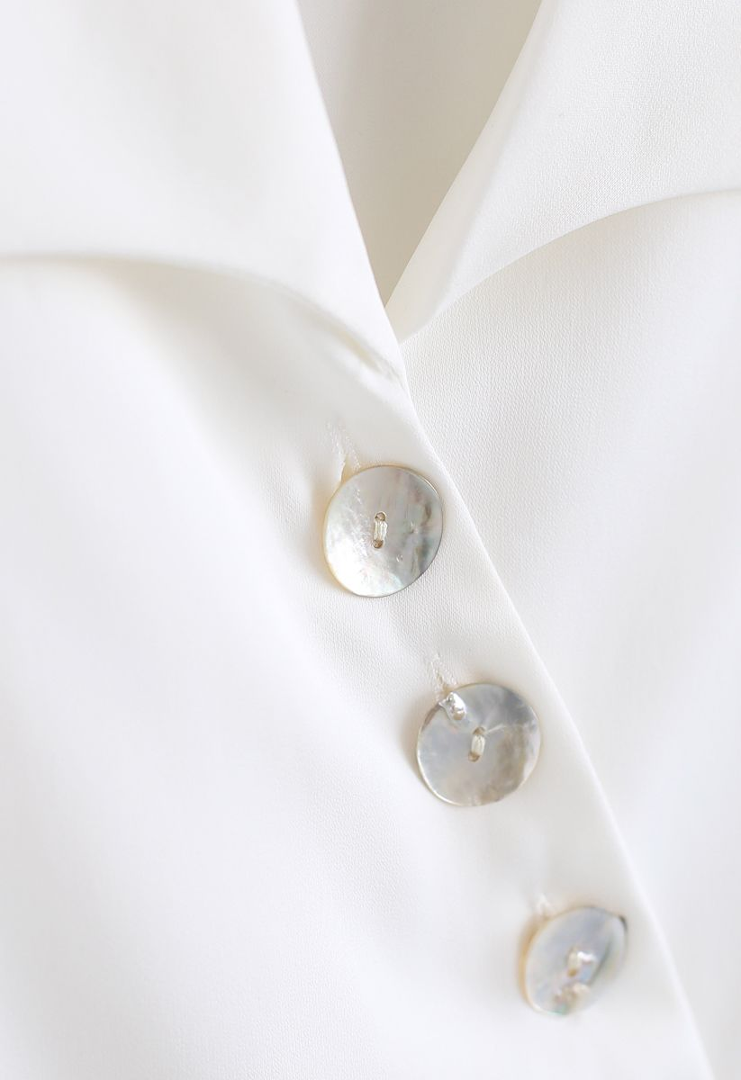 Slant Shell Button Down Shirt in White