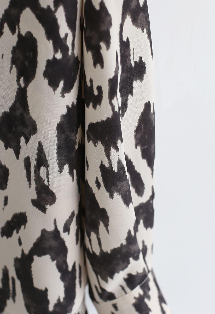 Brushstorke Printed Hi-Lo Shirt in White