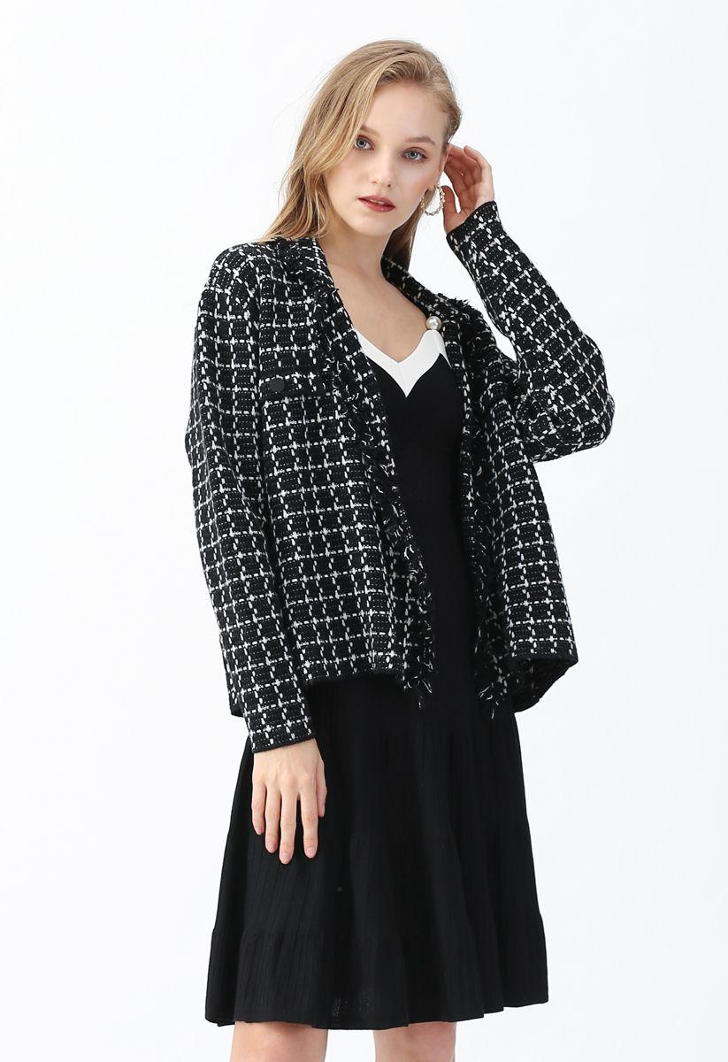 Grid Raw Edge Button Knit Cardigan in Black