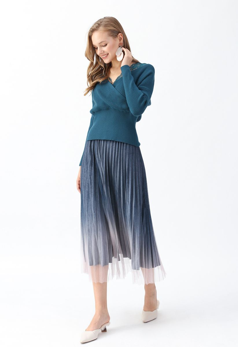 Lacy Ribbed Wrap Knit Top in Teal