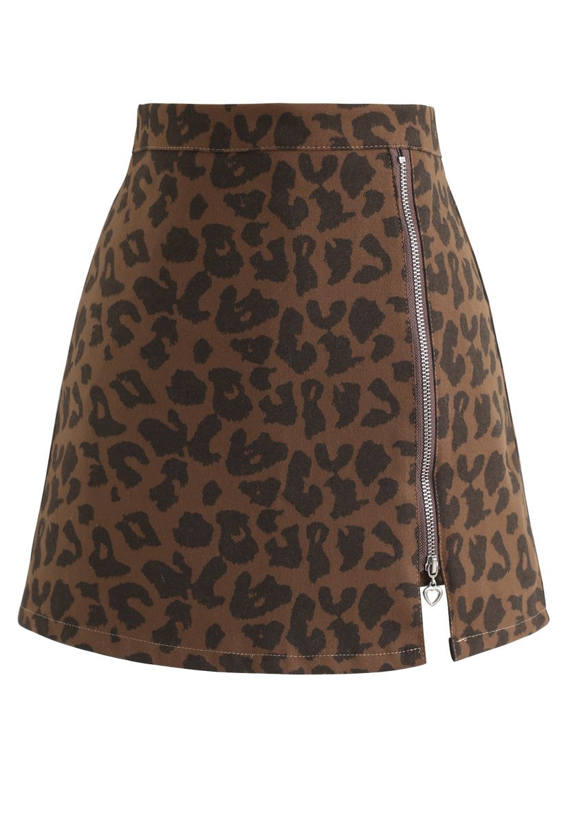 Leopard Print Zipper Mini Skirt in Brown